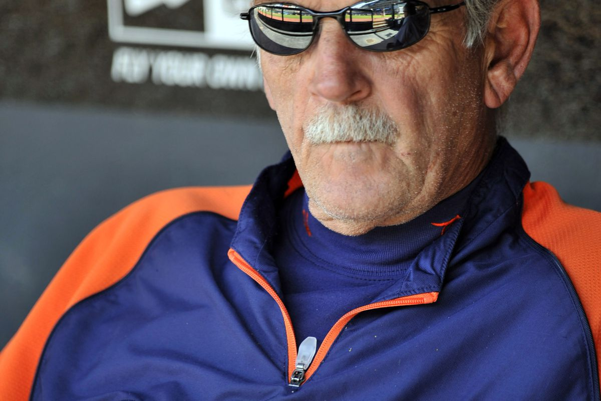 Sep 16, 2012; Cleveland, OH, USA; Detroit Tigers manager Jim Leyland (10) in the dugout before a game against the Cleveland Indians at Progressive Field. Mandatory Credit: David Richard-US PRESSWIRE