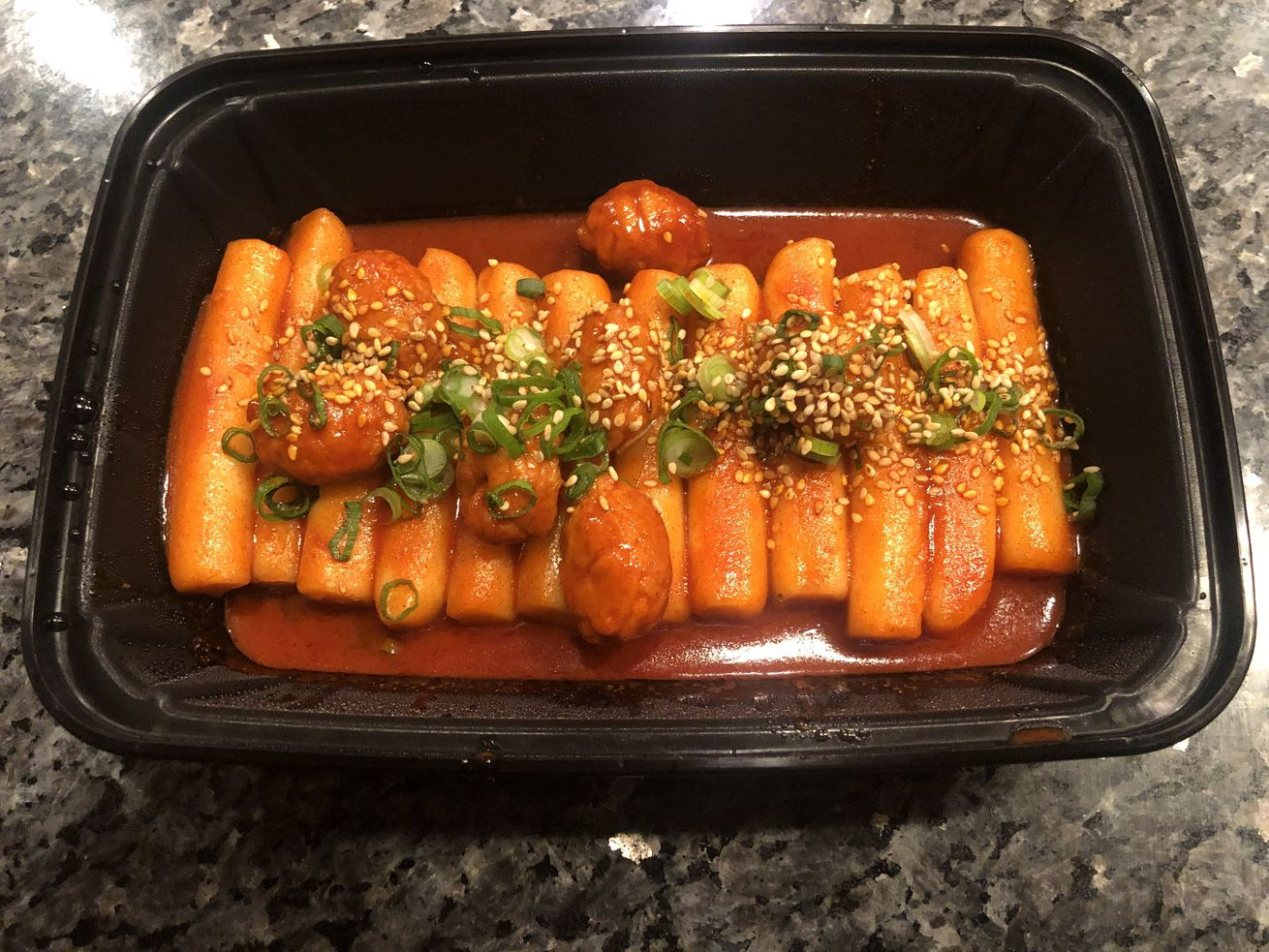 Korean rice cakes in red sauce.