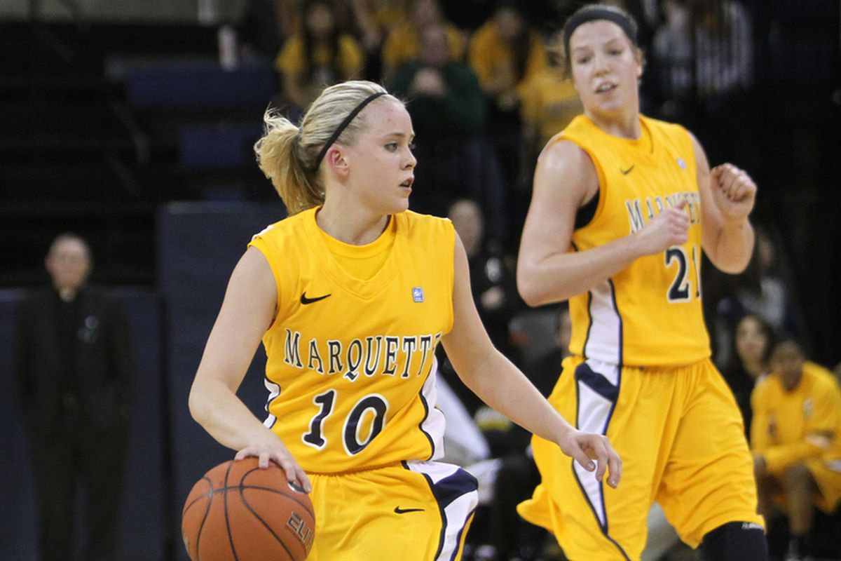 Marquette's two all conference honorees: Brooklyn Pumroy (10) and Katherine Plouffe (21).