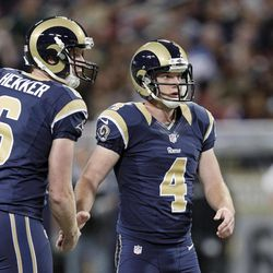 St. Louis Rams kicker Greg Zuerlein, right is congratulated by  Johnny Hekker after kicking a 58-yard field goal during the first half of an NFL football game against the Seattle Seahawks Sunday, Sept. 30, 2012, in St. Louis.