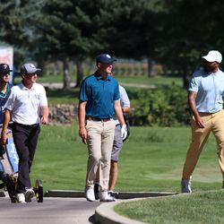 Former Utah Jazz guard Deron Williams walks the course with other golfers during the Utah Open on Friday, August 16, 2019.