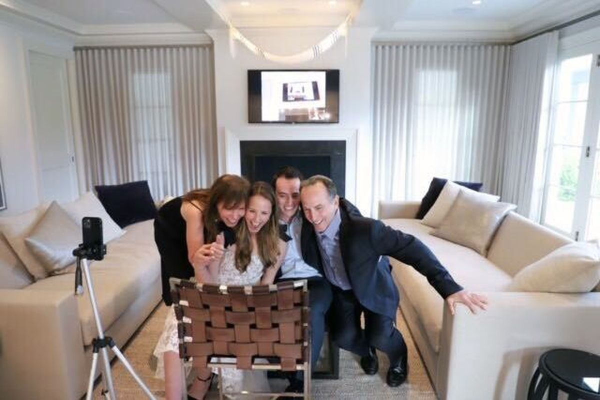 Manhattan couple Julie Samuels and Ben Schlang switched their long-planned April 18 Brooklyn wedding to a virtual Zoom ceremony held in the bride's parents' home.