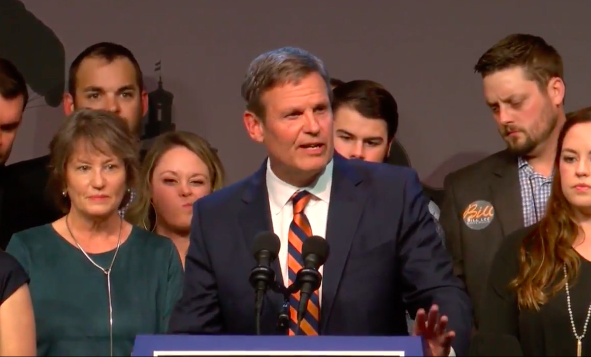 Republican Bill Lee delivers his victory speech in Franklin after defeating Democrat Karl Dean in Tennessee's race for governor.