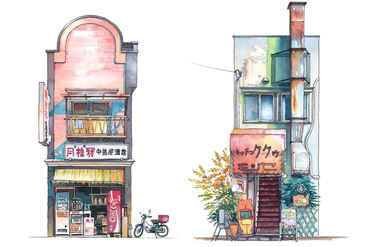 watercolor illustrations of Tokyo storefronts