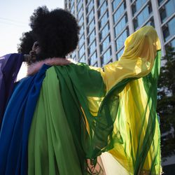 """Lucy Stoole speaks to the crowd during the """"Drag March for Change"""" on Halsted Street in Lakeview, Chicago, Sunday, June 14, 2020."""