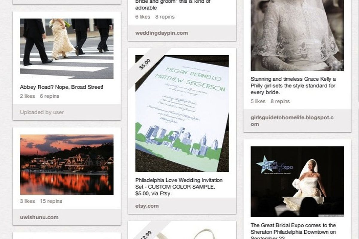 """VisitPhilly's """"Philly Weddings"""" board on Pinterest. Image via <a href=""""http://pinterest.com/visitphilly/save-the-date-philly-weddings/"""">Pinterest/VisitPhilly</a>"""