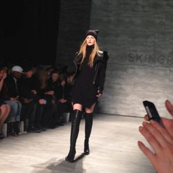 """Skingraft tells <a href=""""http://www.examiner.com/article/skingraft-parades-fall-2014-at-new-york-fashion-week""""target=""""_blank"""">Examiner</A> that the collection was inspired by """"the idea of dramatic climate change and an inevitable return to a dystopian sur"""