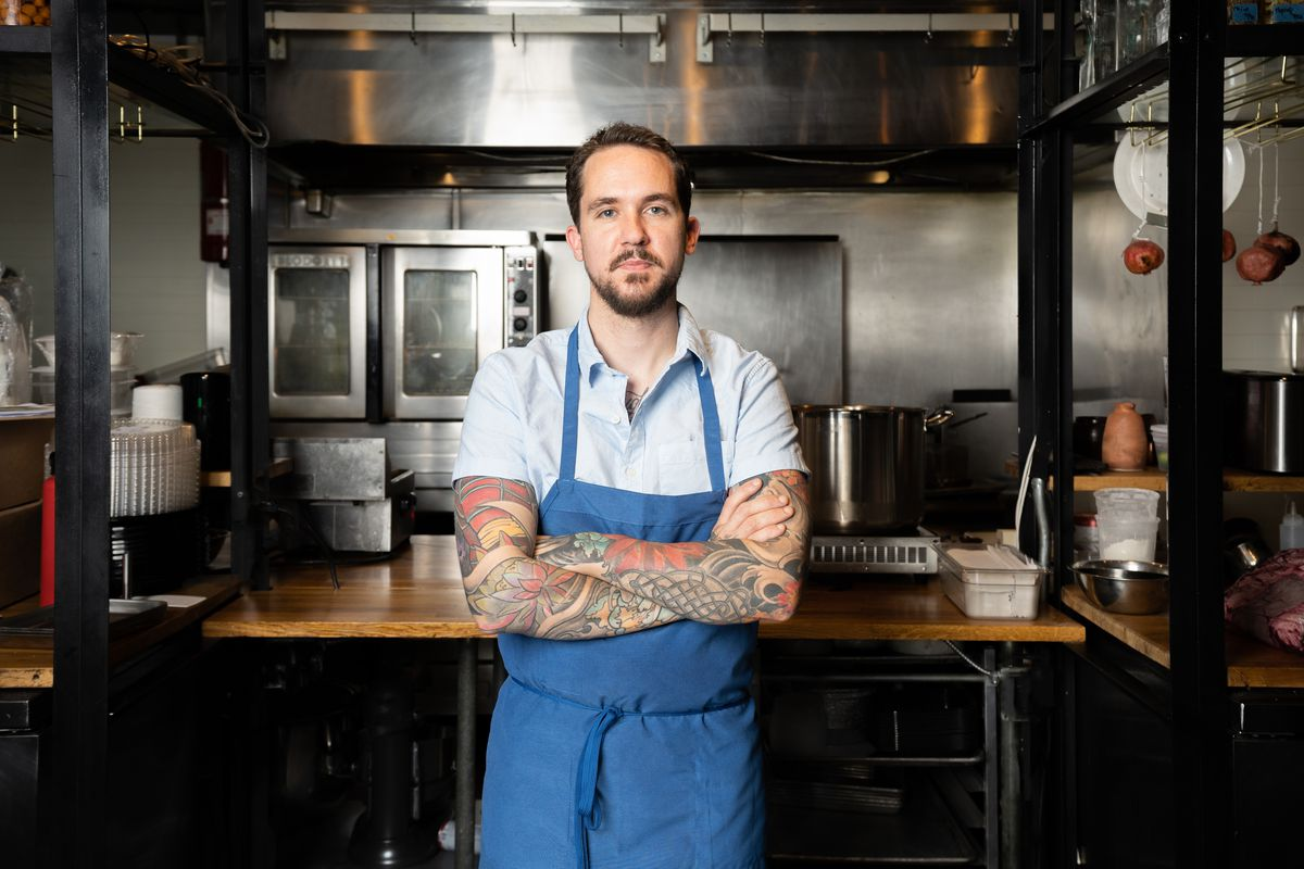 Nathan Tauer, chef at Pasta Bar in Encino, standing with arms crossed.
