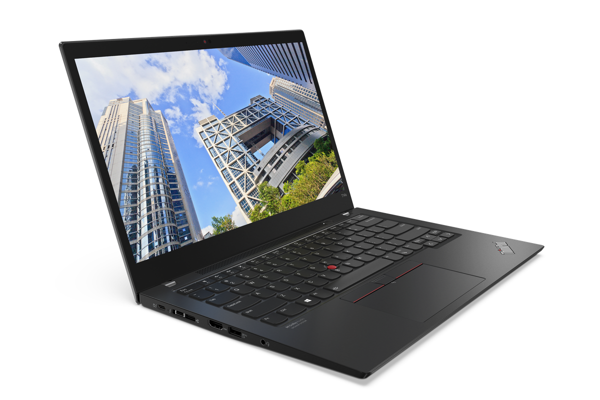Lenovo ThinkPad T14s Gen 2 open, angled to the right. The screen displays a looking-up shot of skyscrapers.
