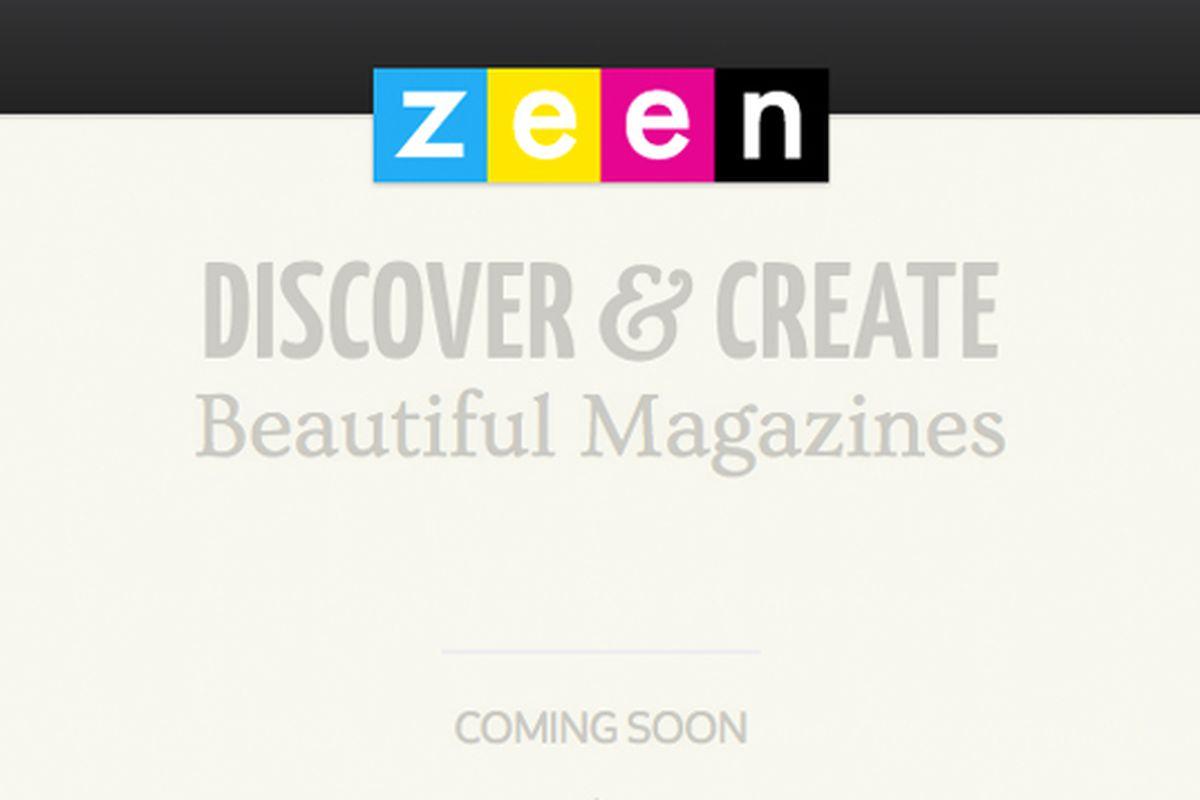 Zeen logo and splash page