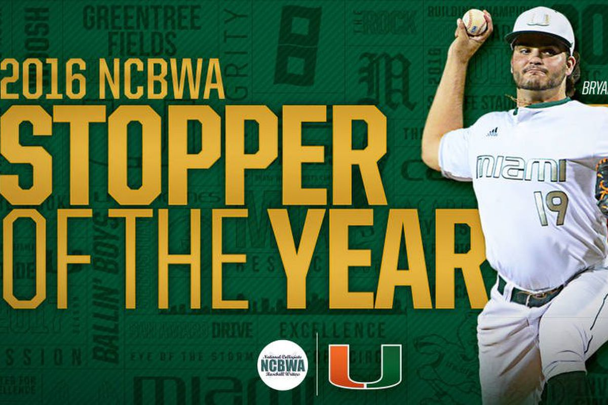 Canes P Bryan Garcia is the 2016 NCBWA Stopper of the Year