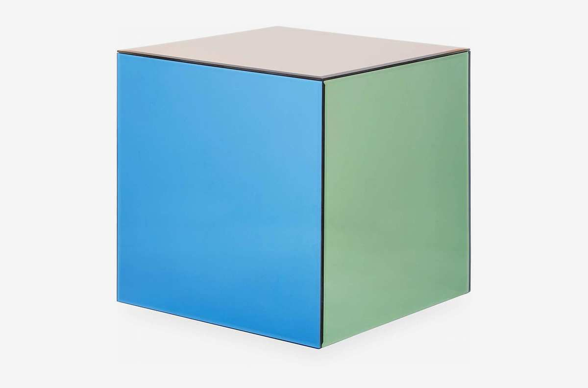 Cube with different colored sides.