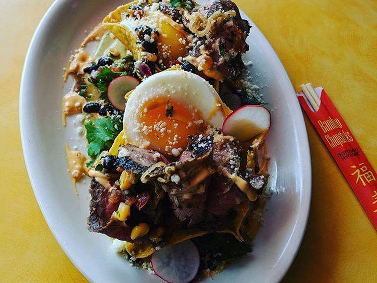 Steak and egg tostada at Dashi