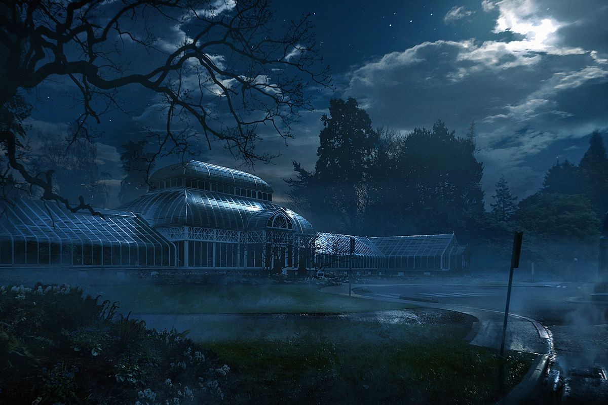 Concept art of an elaborate conservatory for Vampire: The Masquerade — Bloodlines 2.