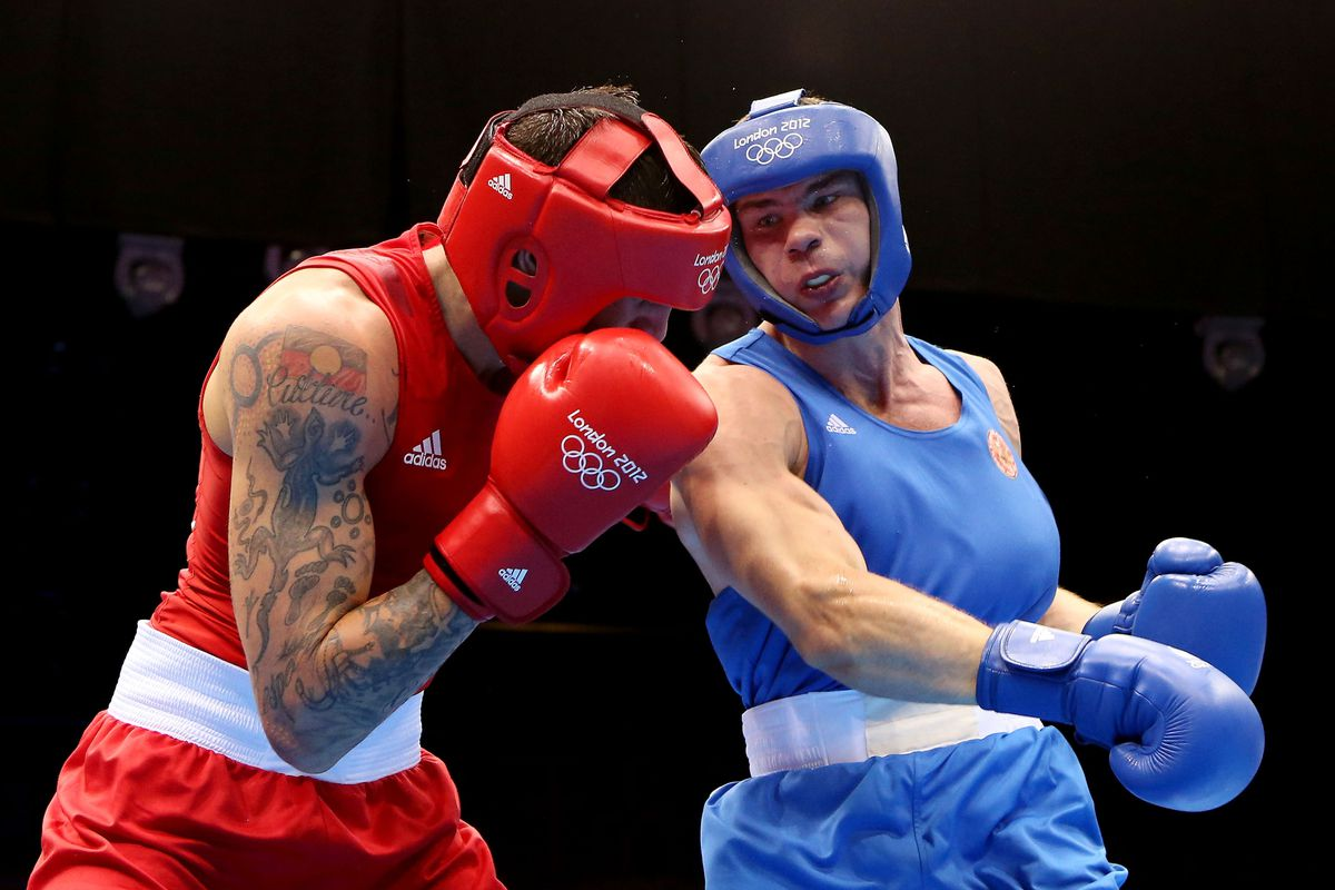 Russia's Egor Mekhontcev narrowly won the light heavyweight gold medal in London this morning. (Photo by Scott Heavey/Getty Images)