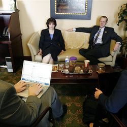 Speaker of the House, Rebecca D. Lockhart, at left, and House majority leader Brad L. Dee, hold a press availability at the Utah Capitol in Salt Lake City, Utah Wednesday, Feb. 16, 2011.