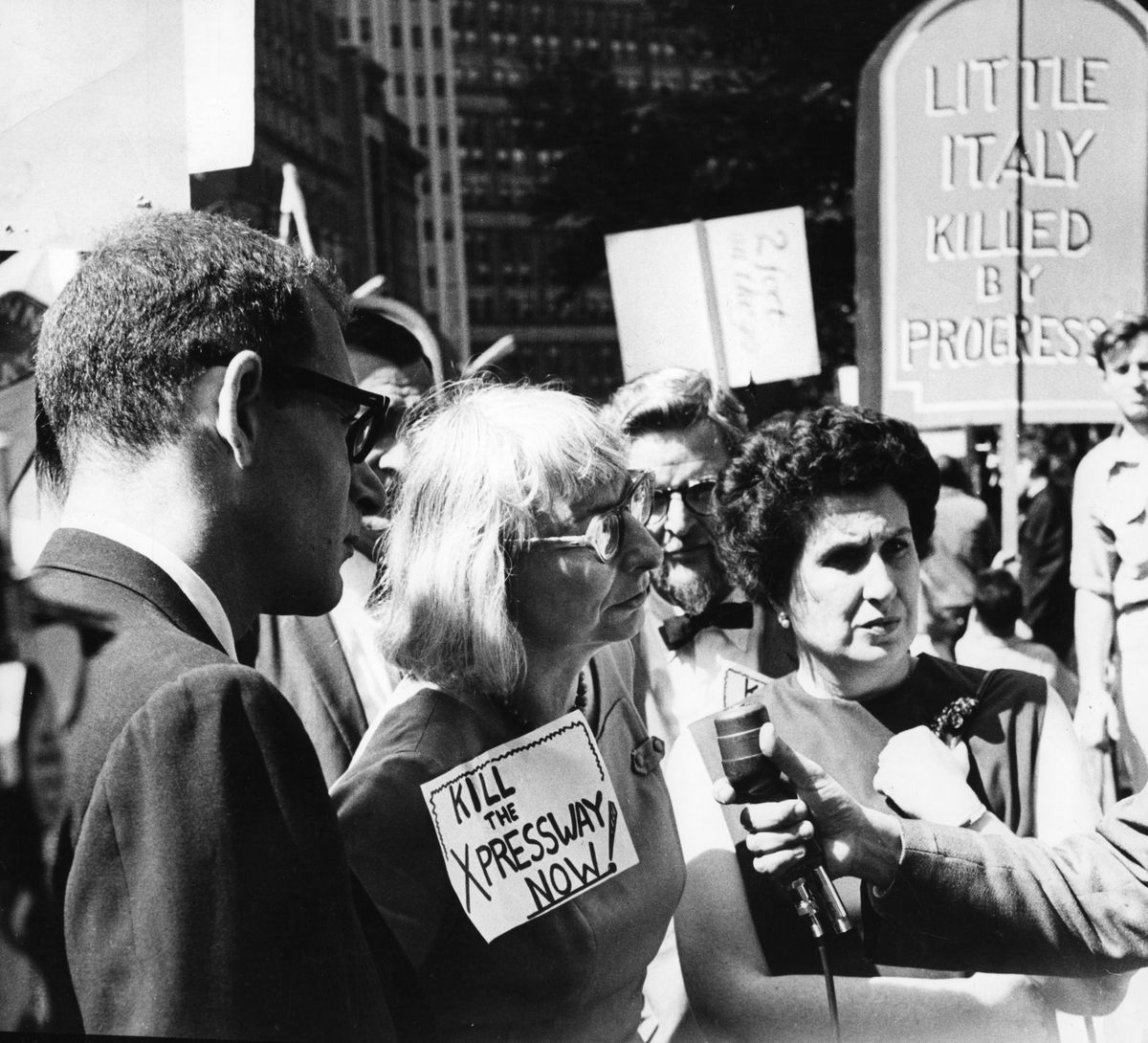 Jane Jacobs at a demonstration against the proposed Lower Manhattan Expressway.