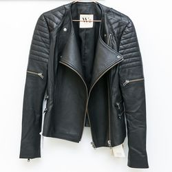 West 14th Greenwich mixed-material leather jacket, $396