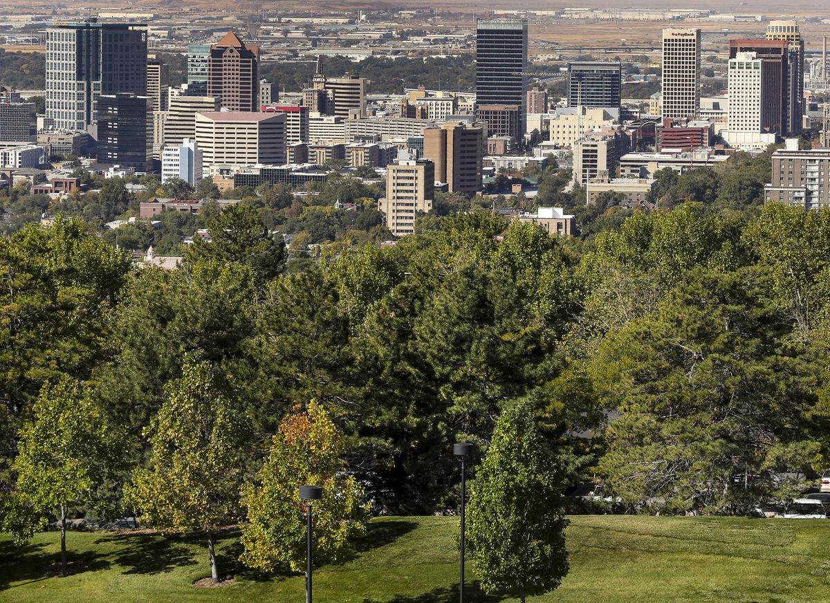 The skyline rises above a canopy of trees in Salt Lake City on Monday, Oct. 7, 2019.