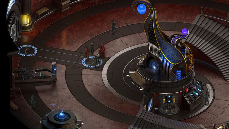 In this screenshot from Torment: Tides of Numenera, a party of adventurers stand in the middle of what appears to be the bridge of a high-tech building or spaceship. A couple of strangely-armored beings can be seen standing nearby. One stands in front of