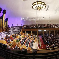 This photo shows the interior of the famous dome-shaped Salt Lake Tabernacle in 2015.