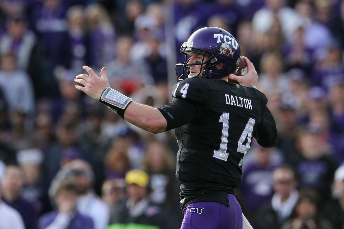 In 2011, Andy Dalton continued the time-held tradition of TCU quarterbacks throwing darts all over the Rose Bowl.