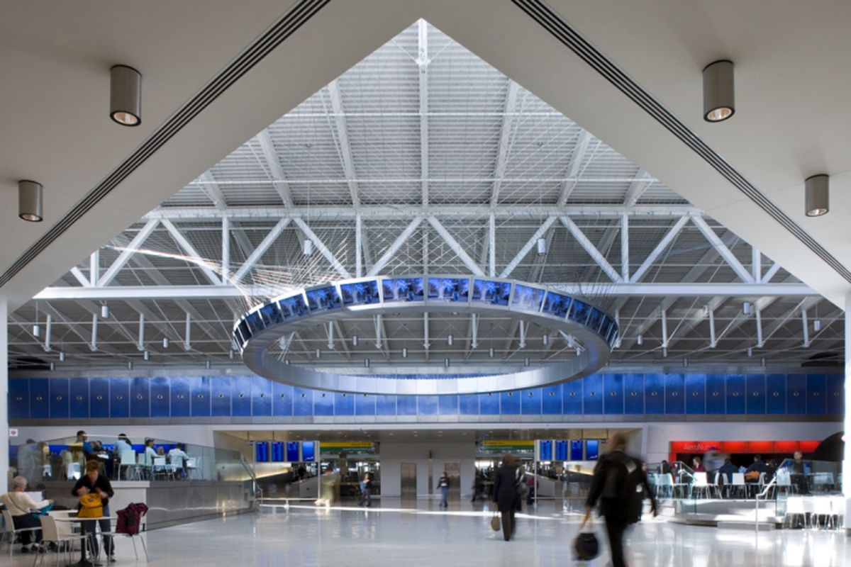 """The JetBlue terminal at JFK. Image via <a href=""""http://www.rockwellgroup.com/projects/entry/jetblue-terminal-5"""">Rockwell Group</a>."""