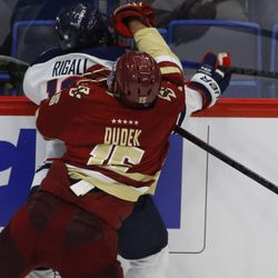 The Boston College Eagles take on the UConn Huskies in a men's college hockey game at the XL Center in Hartford, CT on December 6, 2018.