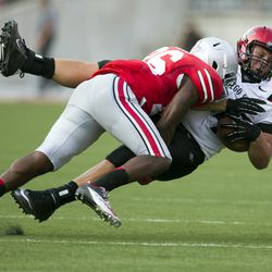 Armani Reeves sticks a tackle.