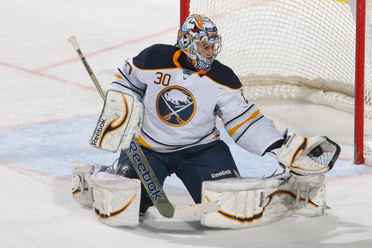BUFFALO, NY - JANUARY 13: Ryan Miller #30 of the Buffalo Sabres makes a glove save against the Toronto Maple Leafs at First Niagara Center on January 13, 2012 in Buffalo, New York.  (Photo by Rick Stewart/Getty Images)
