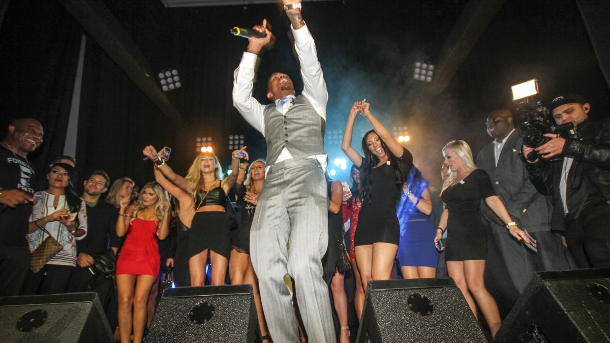 Maxim's Super Bowl party last month. Photo: Getty Images