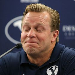 Bronco Mendenhall gets emotional while talking about leaving BYU to take over for Mike London at Virginia after 11 years as BYU's head football coach during a press conference at BYU in Provo on Friday, Dec. 4, 2015.