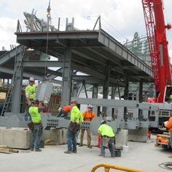 3:11 p.m. The framework for the right-field vidoe board still being assembled -