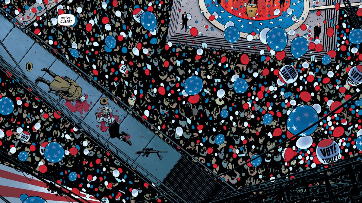 Two figures, one dressed as Rorschach, the other, female, dressed in cowboy chic, lie dead of gunshot wounds on a catwalk above a packed presidential rally crowd and dozens of red white and blue balloons, in Rorschach #1, DC Comics (2020).