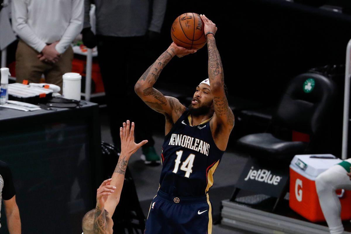 New Orleans Pelicans forward Brandon Ingram shoots during the second half against the Boston Celtics at TD Garden.