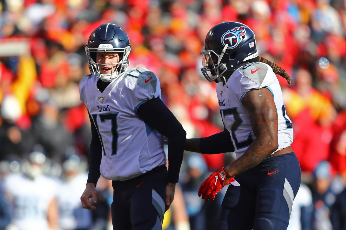 Tennessee Titans quarterback Ryan Tannehill and running back Derrick Henry against the Kansas City Chiefs during the AFC Championship Game at Arrowhead Stadium.