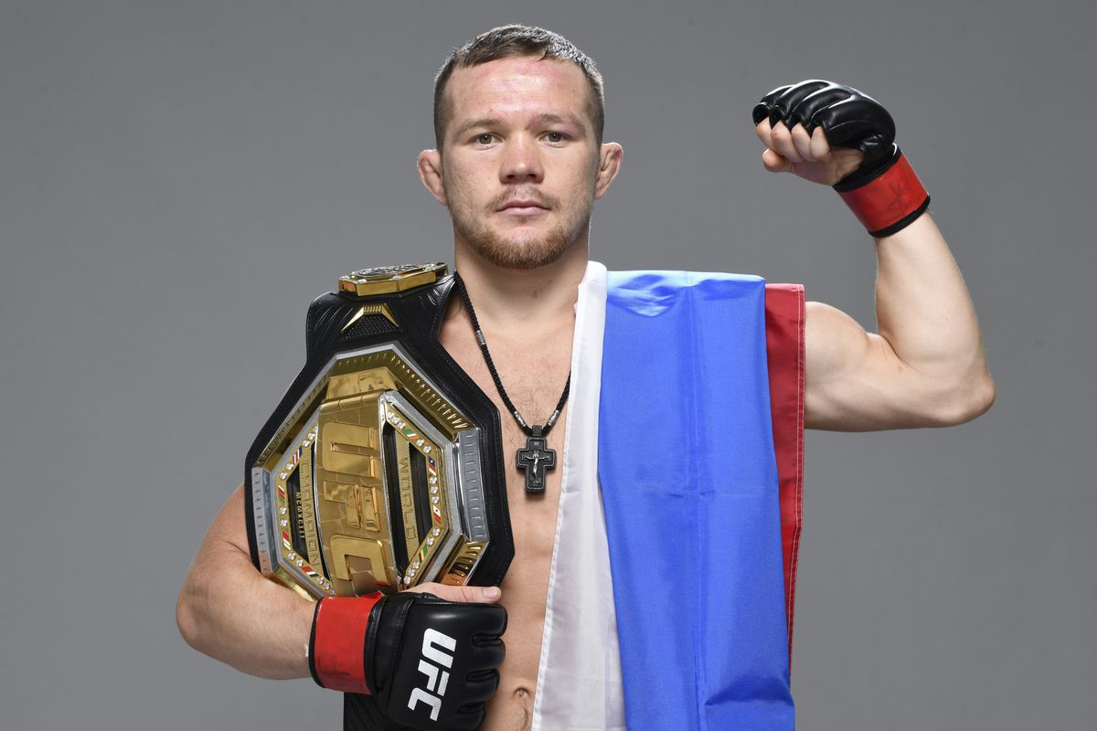 Petr Yan of Russia poses for a portrait after his victory over Jose Aldo during the UFC 251 event at Flash Forum on UFC Fight Island on July 12, 2020 on Yas Island, Abu Dhabi, United Arab Emirates.