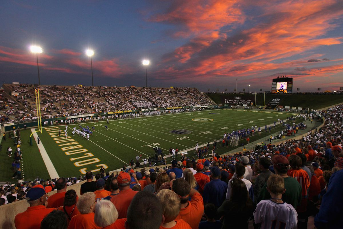 FORT COLLINS, CO - OCTOBER 15:  The sun sets as the Boise State Broncos face the Colorado State Rams at Sonny Lubick Field at Hughes Stadium on October 15, 2011 in Fort Collins, Colorado.  (Photo by Doug Pensinger/Getty Images)