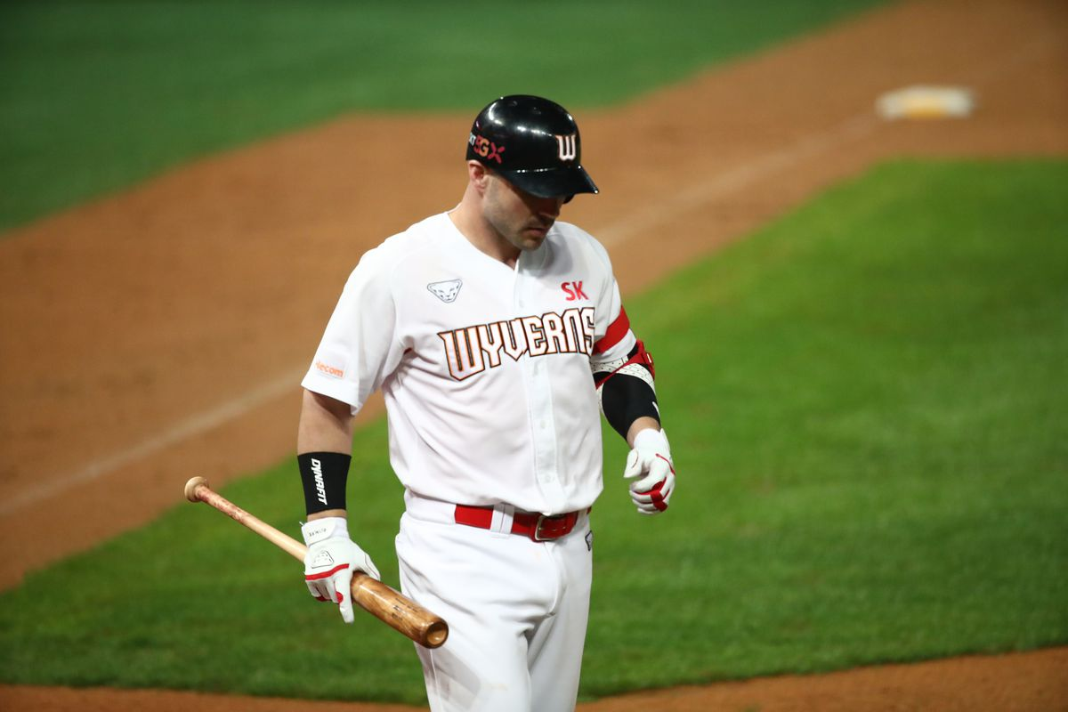 Infielder Jamie Romak of SK Wyverns stricks out in the bottom of the seventh inning during the KBO League game between NC Dinos and SK Wyverns at the Incheon SK Happy Dream Park on May 15, 2020 in Incheon, South Korea.