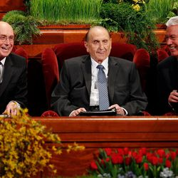 President Thomas S. Monson (center) sits with his counselors, President Henry B. Eyring (left) and President Dieter F. Uchtdorf (right), prior to the Saturday morning session of general conference at the Conference Center in Salt Lake City, Utah, April 4, 2015.