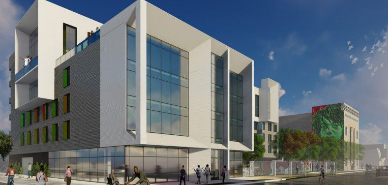 A rendering of a proposed development in Austin, with the former Laramie State Banking building in the background.