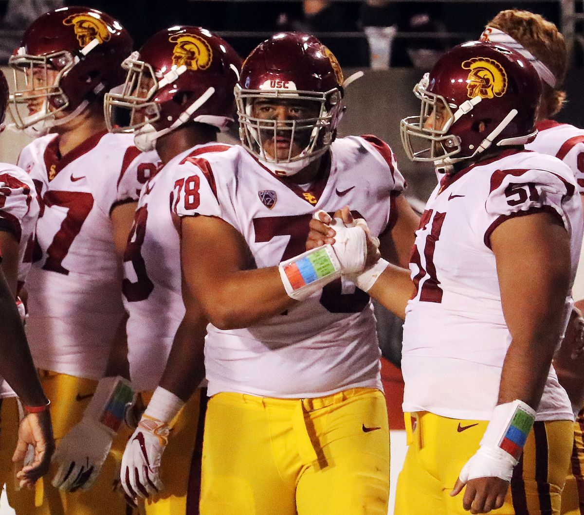 USC Trojans defensive lineman Jay Tufele gets ready to take the field against the Utah Utes during NCAA football in Salt Lake City on Saturday, Oct. 20, 2018.