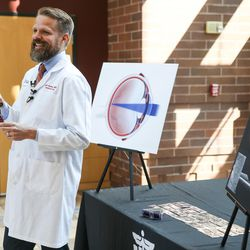 Dr. Jeff Pettey, associate professor of ophthalmology, speaks about the risks of viewing the upcoming solar eclipse without proper eye protection at the John A. Moran Eye Center in Salt Lake City on Wednesday, Aug. 2, 2017.