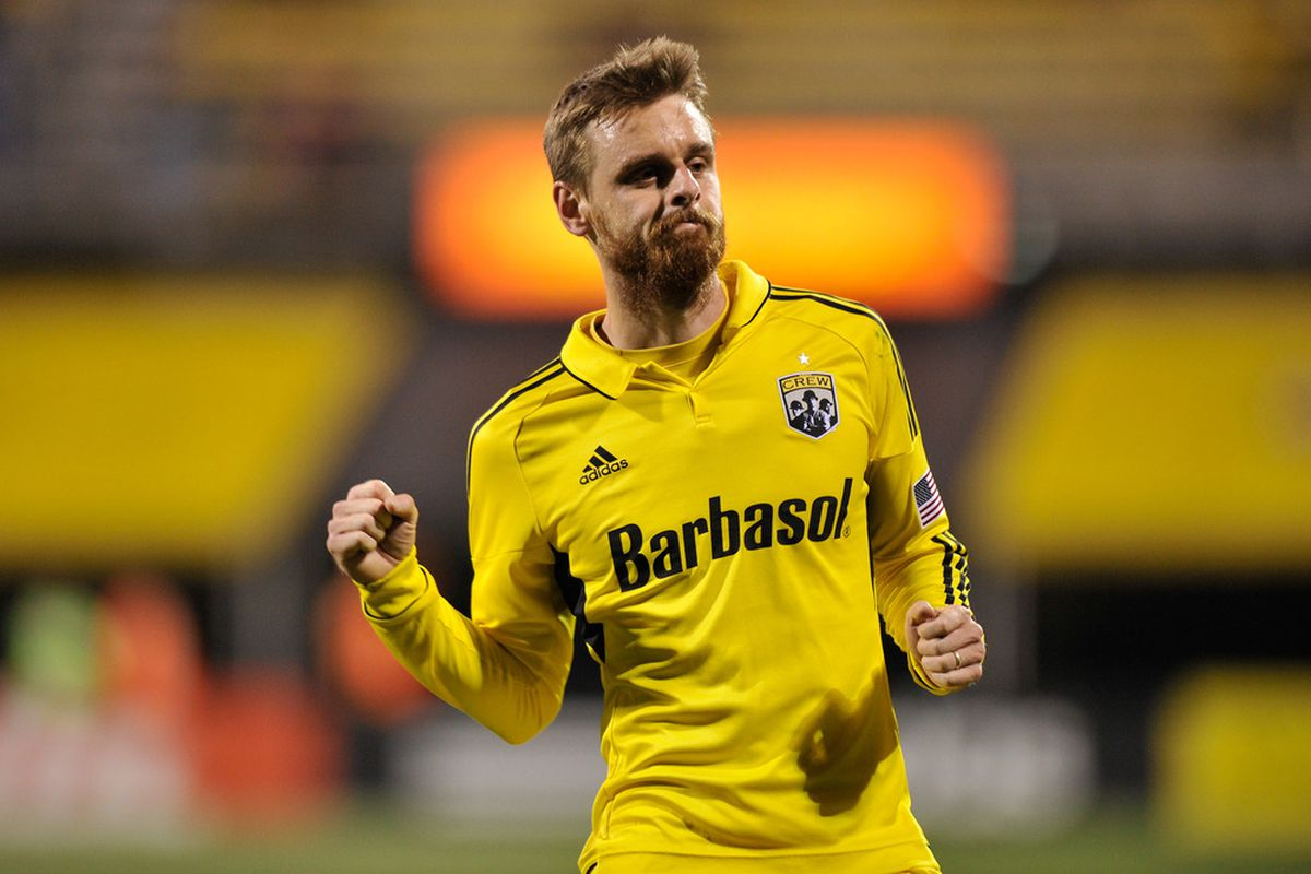COLUMBUS, OH - APRIL 21:  Eddie Gaven #12 of the Columbus Crew celebrated a two-goal performance against the Houston Dynamo at Crew Stadium in Columbus, Ohio. Houston and Columbus played to a 2-2 tie.   (Photo by Jamie Sabau/Getty Images)
