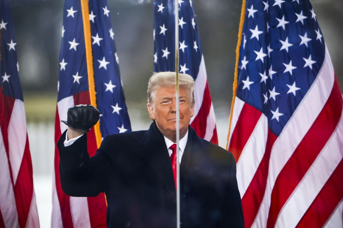 President Trump stands in front of America flags and holds up a fist.