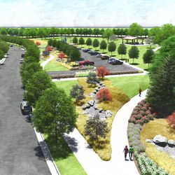 Overhead view of the regional park south parking lot, looking south. This is an artist's rendering of a portion of the planned residential community near the site of the Tooele Valley Utah Temple.