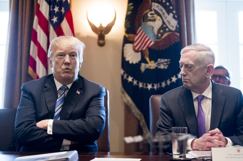 President Donald Trump and Secretary of Defense Jim Mattis in the Cabinet Room of the White House on March 8, 2018.
