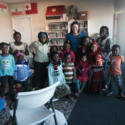Stephanie Anderson is pictured here with youths at the Sunnyvale Neighborhood Center. Anderson was awarded the 2017 Utah Library Association's Community Engagement award.