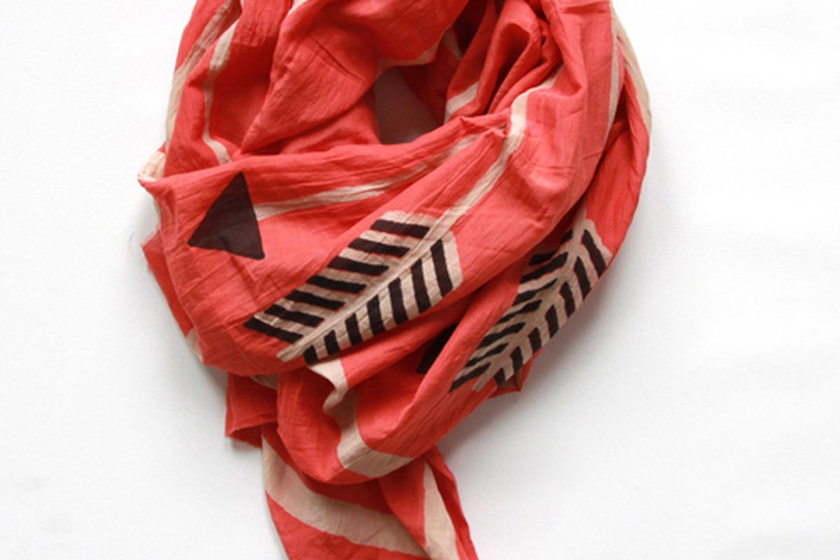 "Arrows scarf via <a href=""http://www.blockshoptextiles.com/products/arrows-coral"">Block Shop</a>"