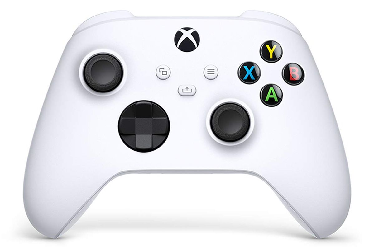 A studio portrait of the Xbox Core Controller in Robot White. It's tasteful drop shadow looks totally artificial.